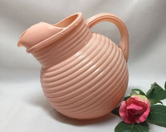 Hazel Atlas Ribbed Lines Ball Pitcher Moderntone Pink