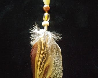 Pheasant Feather and Glass Keychain