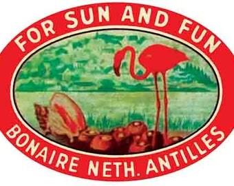 Vintage Style Bonaire  Caribbean Antilles Island Beach    1950's   Travel Decal sticker