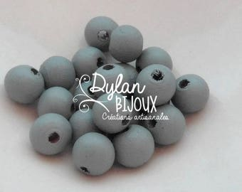 20 wooden ⌀ grey 10 mm beads