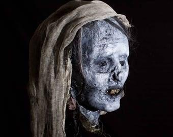 Mummified-Corpse-Child-Head - Custom prop (Halloween/Horror/Gothic/Cemetery/Mummy/Egyptian)