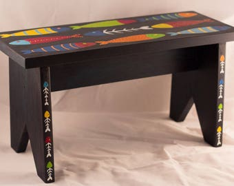 """Small bench for kids (or footstool) - """"School of sardines"""""""