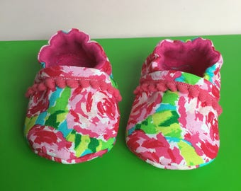 Lily Pulitzer Inspired Roses - Baby Slippers, Crib Shoes