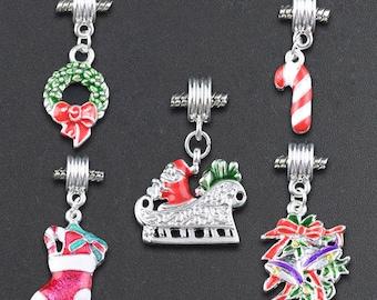 Christmas theme (x 5) silver metal charms charms