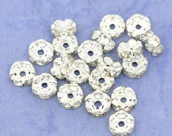 Beads 6 mm serrated and acrylic rhinestone (x 20) aluminum