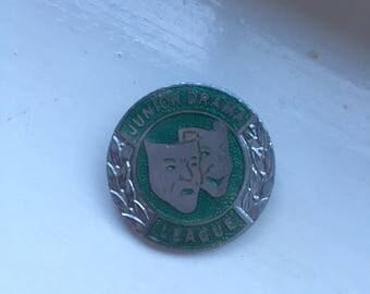 Junior drama league, pin badge, 1970s, theatre masks