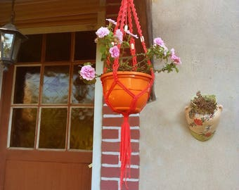 """For small plants pattern """"coral"""" macrame wall hanging"""