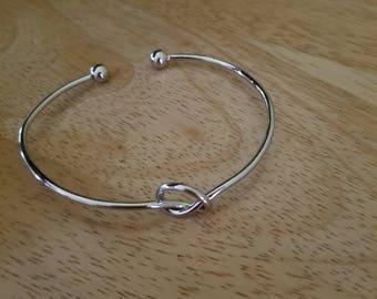 Silver Knot Bangle Bracelet