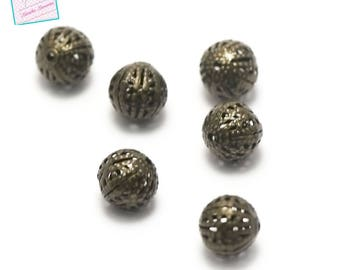 50 round beads filigree 10 mm, bronze