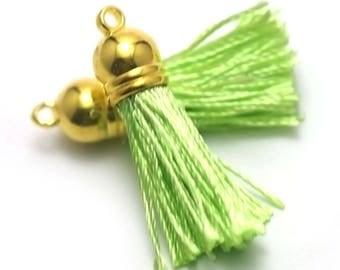 "4 ""silk threads"" Pom Pom 10x45mm, green, gold"