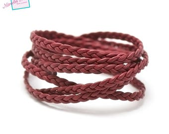 1 m braided faux leather 4 mm, 010 red strap