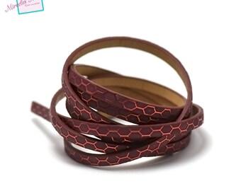 "1.15 m Strip split leather 5 x 2 mm ""honeycomb 2"", Burgundy"