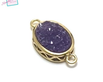 """1 connector oval gemstone """"Purple agate 22 x 12 x 5 mm"""", gold"""