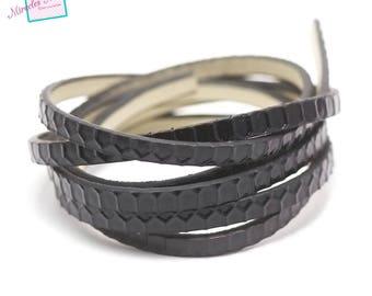 "1 m strap leather 5 x 2 mm ""honeycomb"", black"
