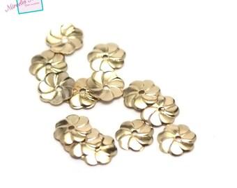"500 ""flat flower"" round 7 mm gold bead caps"
