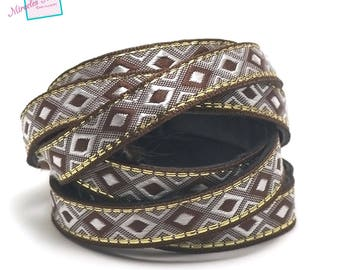 "1 m strap leather 10 x 2 mm ""arabesque"", Brown"