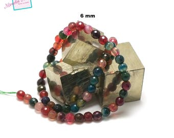 """strand 39 cm 001 """"6 mm faceted round"""" multicolor agate beads, natural stone"""
