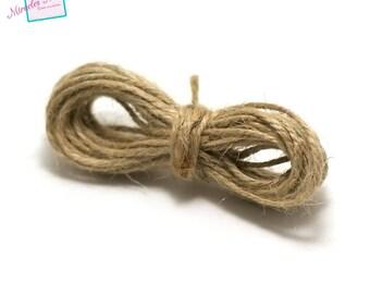 5 m cord of linen, 1 mm, beige