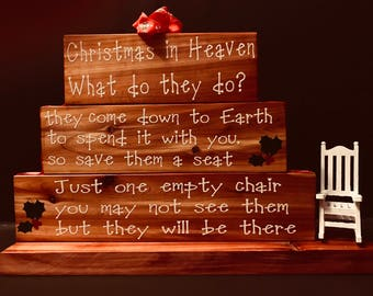 Personalized  Cedar Christmas in Heaven Sign, Christmas, Chair, Heaven, Christmas in Heaven, Can be personalized, Loved One, Memory Piece