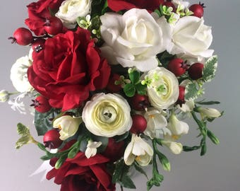 Winter wedding bouquet ~Rose bouquet ~ Red white bouquet ~ Christmas bridal bouquet ~ Red wedding ~ Christmas wedding ~ Winter wedding