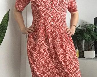 Vintage 1990's Red Geometric Pattern Liz Claiborne Secretary Wiggle Dress Size 10 Petite Medium