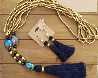 Pendant with tassel and earrings set