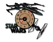 Star Wars Vinyl Record Wall Clock Housewarming Gift for Youth Home Room Art Decor Disney Design
