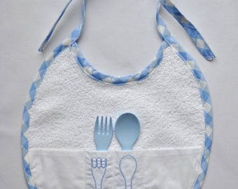 Bib edge blue gingham with spoon and fork
