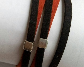 Bracelet multi-row wide black and Red suede