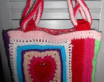 bag Bohemian double knit and crochet