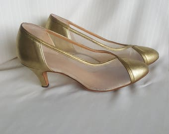 1950s 1960s vintage retro golden lame see through mesh high heels heeled shoes UK 5.5/6