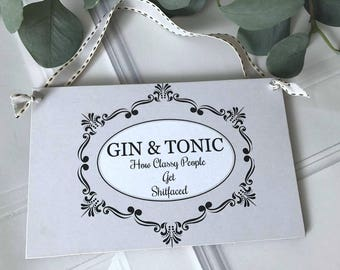 GIN & TONIC Sign Wall Hanging Plaque Humorous