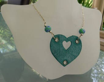 Turqoise and silver leather necklace with heart