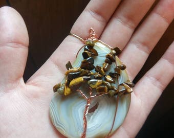 Agate/Tigers Eye Tree Of Life Wire Wrapped Pendant