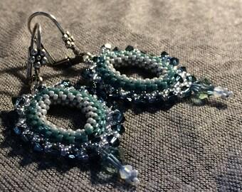 Earrings Peyotes * oval * blue Celadon