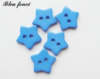 Set of 5 star buttons 17 mm 2-hole: dark blue