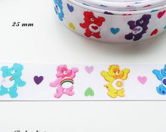 The bears of different color 25 mm white grosgrain Ribbon sold by 50 cm