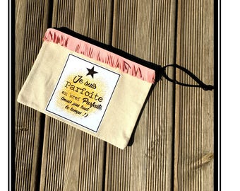 "Zippered bag ""I'm Parfoite"" Star Black Black star gilded gold quote quote french handmade"