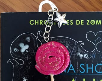 Glittery pink lollipop bookmark