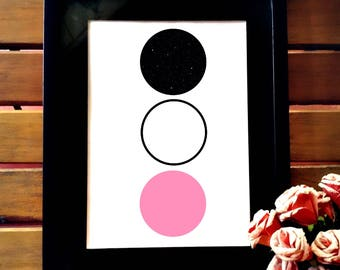 Minimalist printable art, minimalist wall art, wall decor, simple art, geometric design, geometric printable, pink & black geometric poster