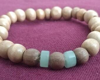 Wood & Jade Beaded Bracelet