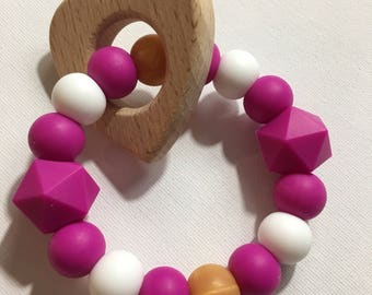 Heart Fuschia and gold teething ring