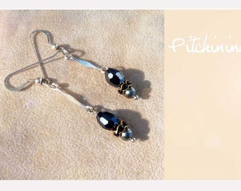 Earrings, timeless, simple and tasteful black and silver