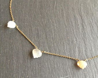 "thin Choker ""3 Moons"" salmon grey white moonstones"