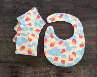 Baby cotton wipes and bib duo / bamboo