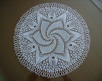 handmade lace doily with needles, size 34, white