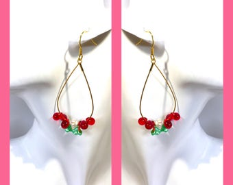 Fairy hoop dangle rain drop red flower gold ear wires ear clips earrings