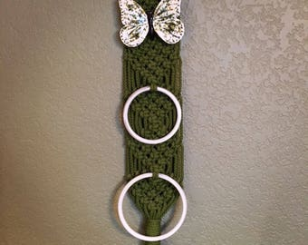 Vintage Macrame Towel Holder • Hanging Towel Ring • Knitted Towel Rack