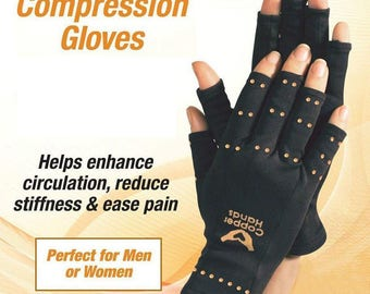 1 Pair Compression Copper Hands Arthritis Gloves New Therapeutic One size