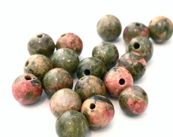 X 50 unakite ❤ ❤ 6mm stone beads